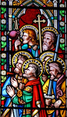 Stained glass of St Edmunds, Dolton, Devon - The Apostles