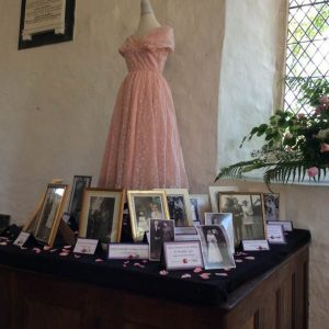 Wedding Dresses in Dowland Church for the flower festival